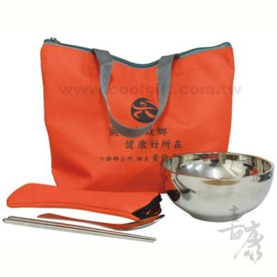 13.5cm 雙層不鏽鋼碗+二件式魚尾厚餐匙+環保袋