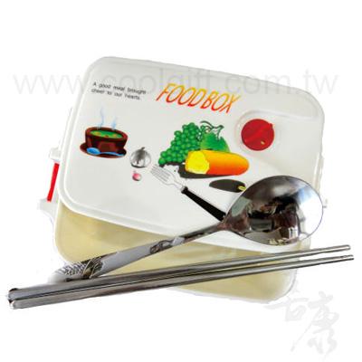 微波餐盒+仙鶴圓匙餐具組