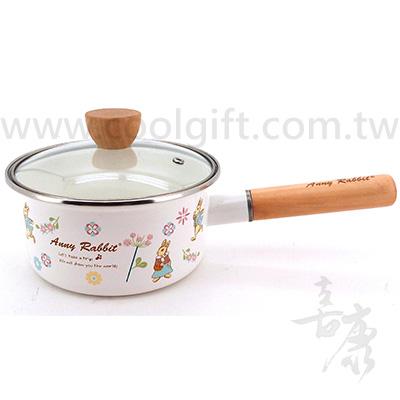 安妮兔木柄琺瑯牛奶鍋