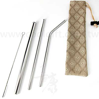 316不鏽鋼防刮吸管4件緹花袋組