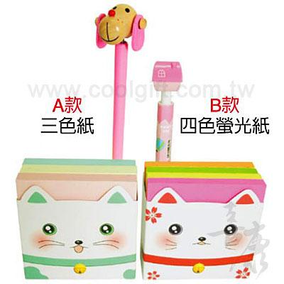 貓咪盒裝便利貼加造型筆