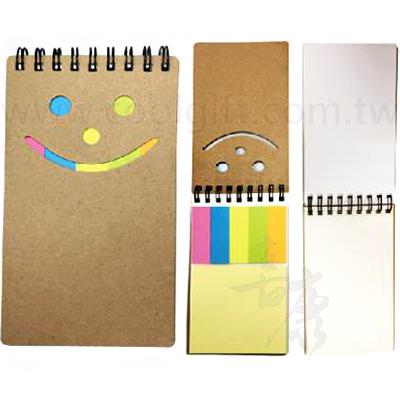 可愛笑臉五色便利筆記本