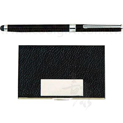 黑桿觸控鋼珠筆+紳士黑名片盒組
