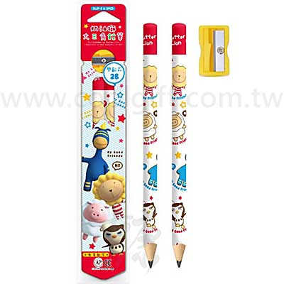 幼兒三角鉛筆2入+削鉛筆器
