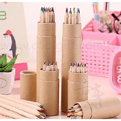 12色原木紙筒色鉛筆