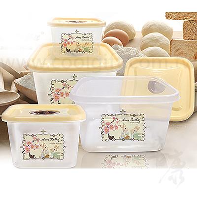 安妮兔方型4入保鮮盒組(櫻花)