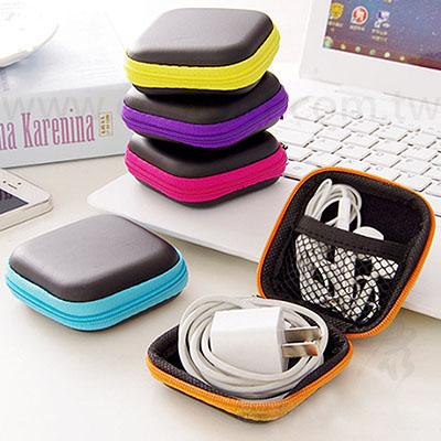 時尚方型耳機數據線收納盒