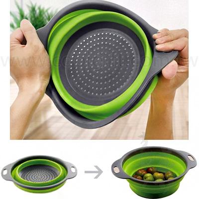 圓形矽膠折疊洗菜籃(二件式)