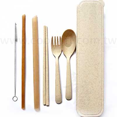 天然小麥餐具甘蔗吸管組