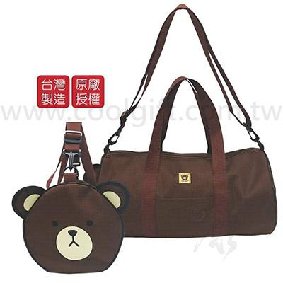 可愛熊圓筒旅行袋