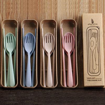天然小麥 環保素雅餐具組