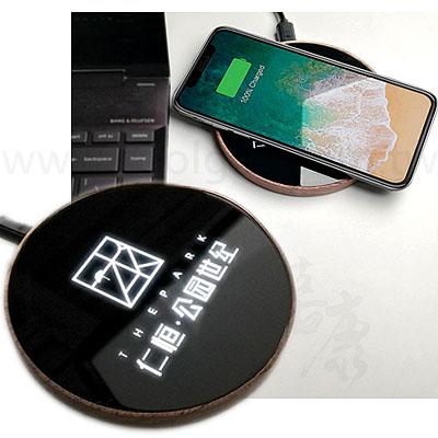 客製發光原木無線充電盤