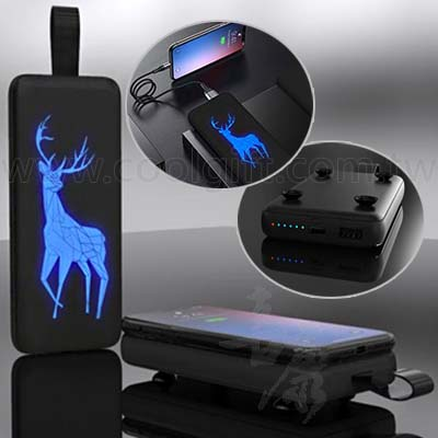 2合1發光無線充電行動電源