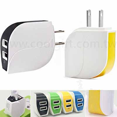 葉形雙孔USB插座
