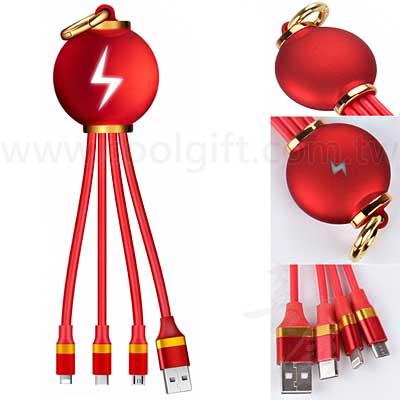 燈籠造型發光3合1充電線