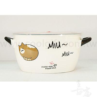 浮雕貓咪雙耳泡麵碗