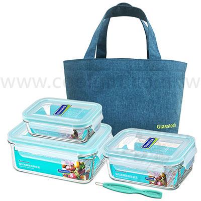 韓國Glasslock強化玻璃保鮮盒組(附保溫袋)