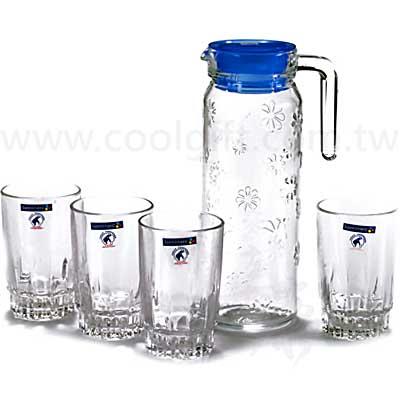 法國樂美雅浮雕花玻璃杯壺組(1壺4杯)
