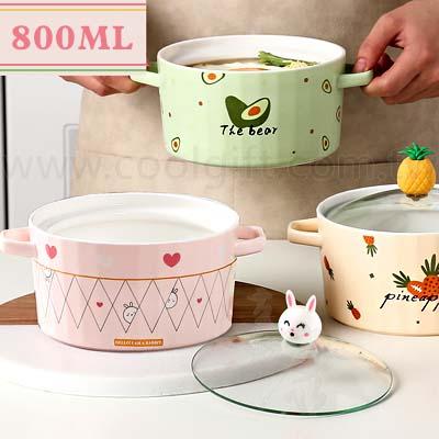 水果動物陶瓷雙耳泡麵蓋碗750ml
