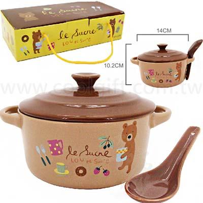 Lou小熊陶瓷雙耳泡麵碗-附蓋子湯匙