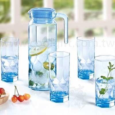 法國樂美雅鑽石玻璃1壺4杯組