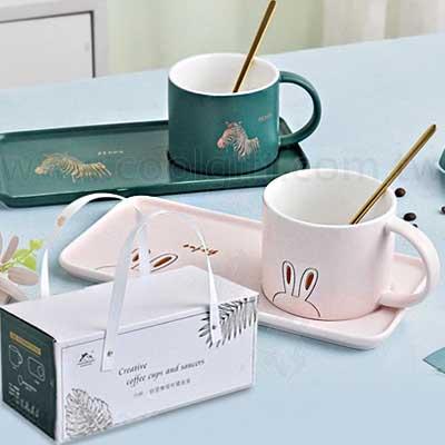 優雅動物咖啡杯盤組