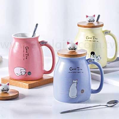 可愛貓咪馬克杯(附蓋匙)