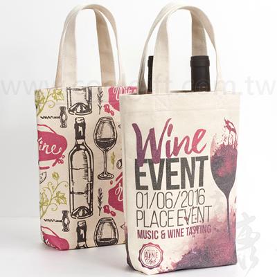 雙瓶裝彩印帆布紅酒袋
