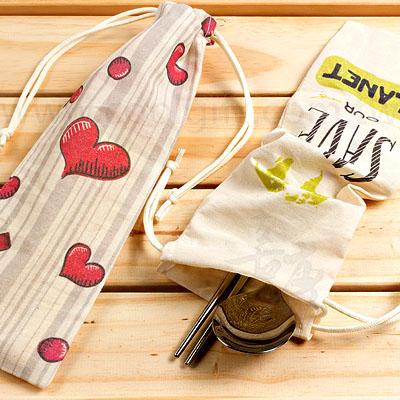 環保餐具吸管收納束口袋(全彩印製)