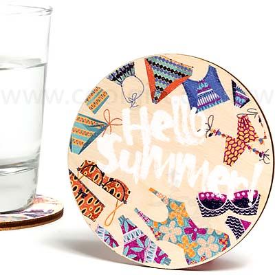 客製彩印木質歐風圓型杯墊