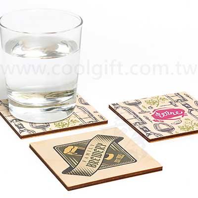客製彩印木質歐風方型杯墊