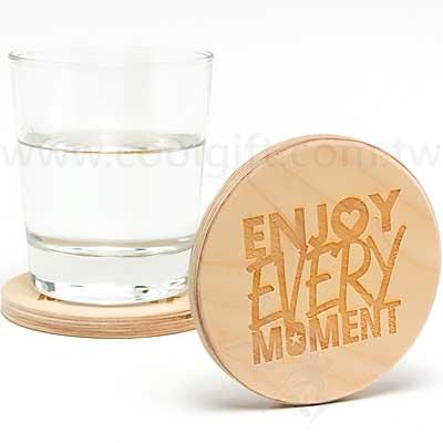 客製雷雕木質圓型杯墊